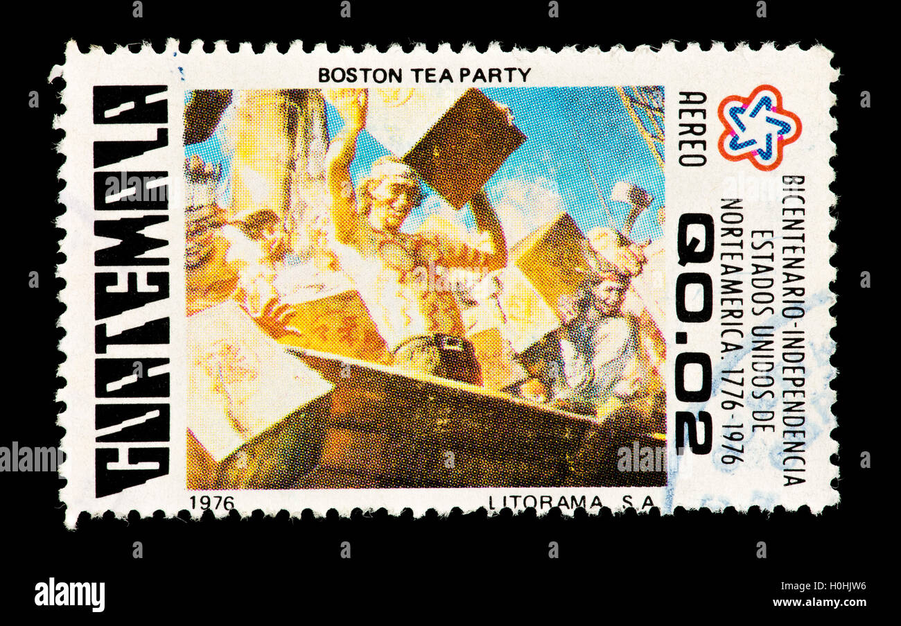 Postage Stamp From Guatemala Depicting The Boston Tea Party For American Bicentennial
