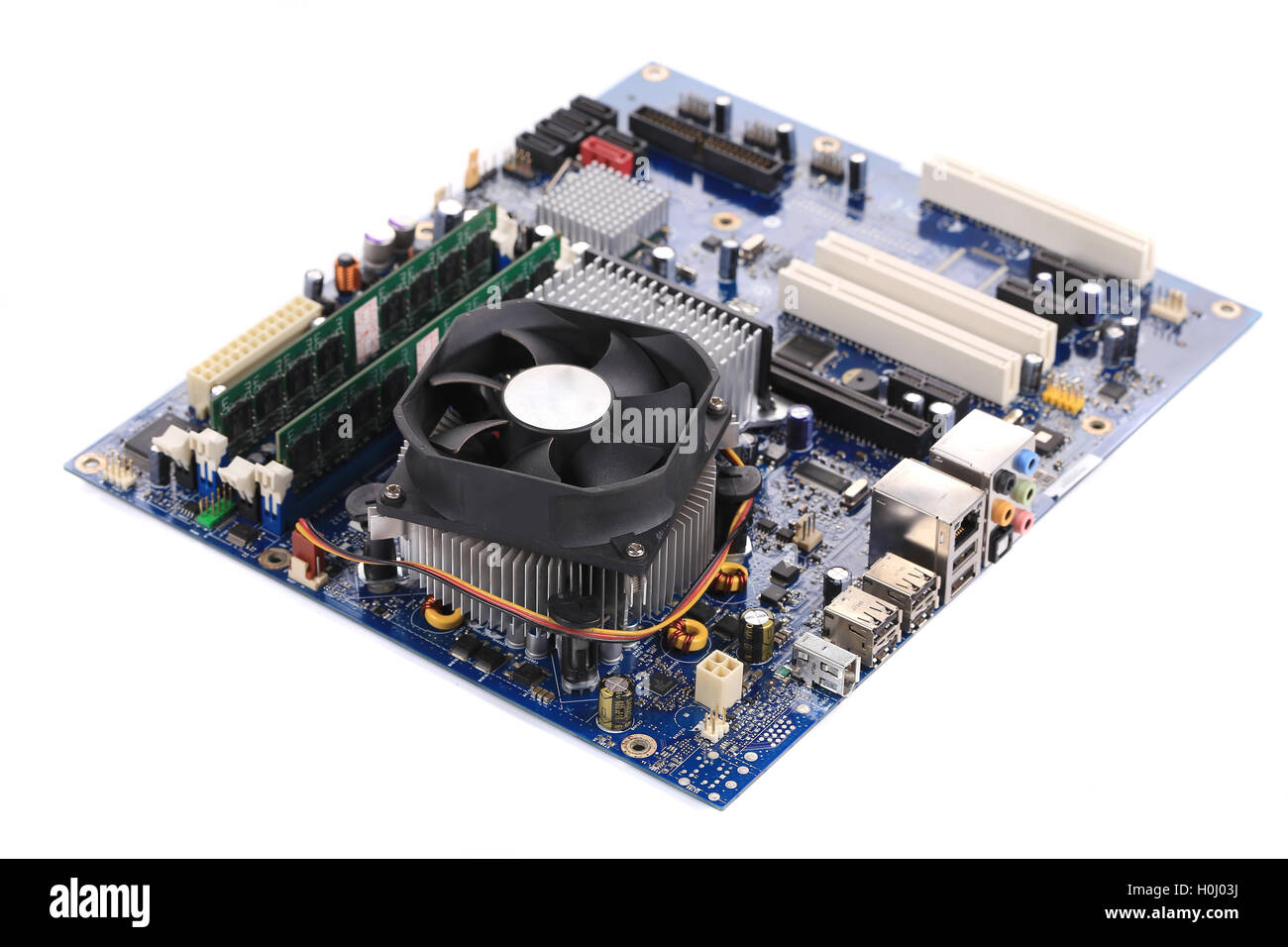 Top view of motherboard. - Stock Image
