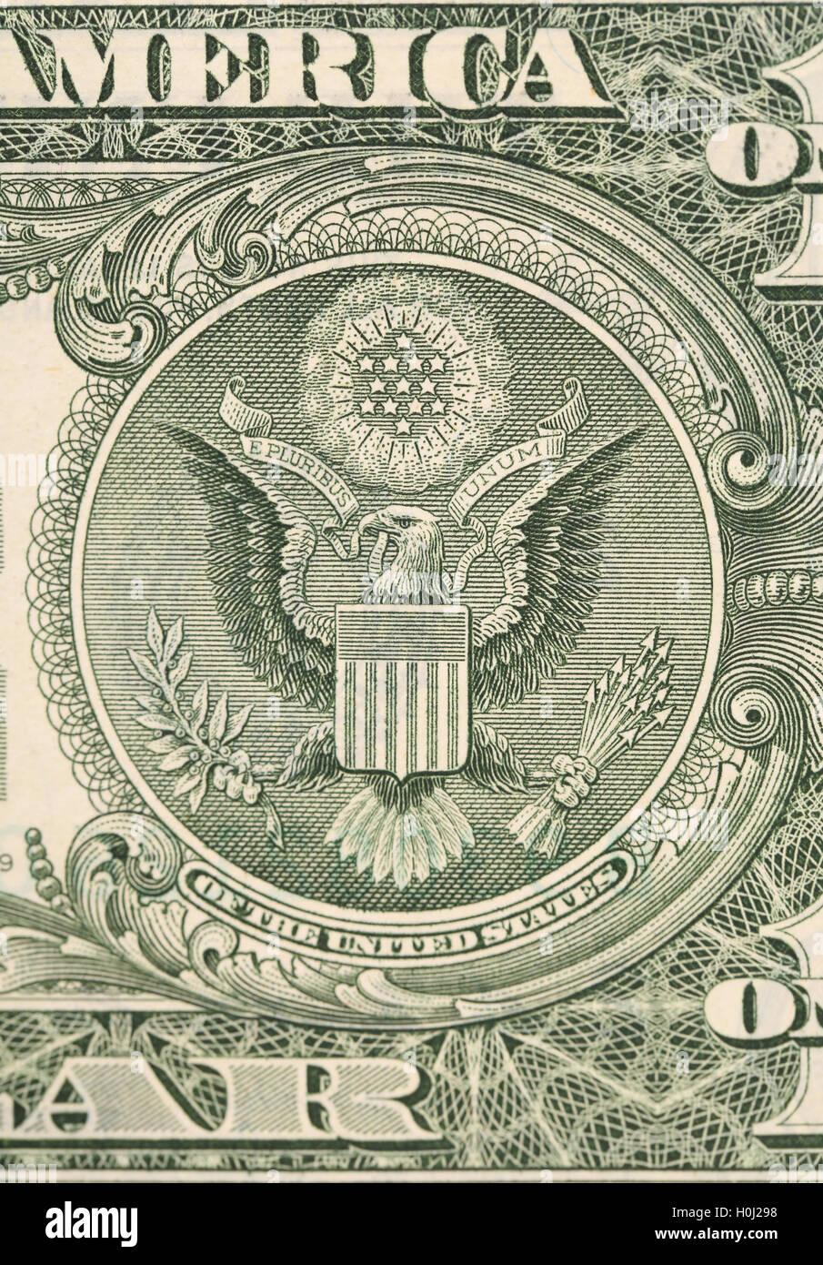 Dollar eagle banknote close up. - Stock Image