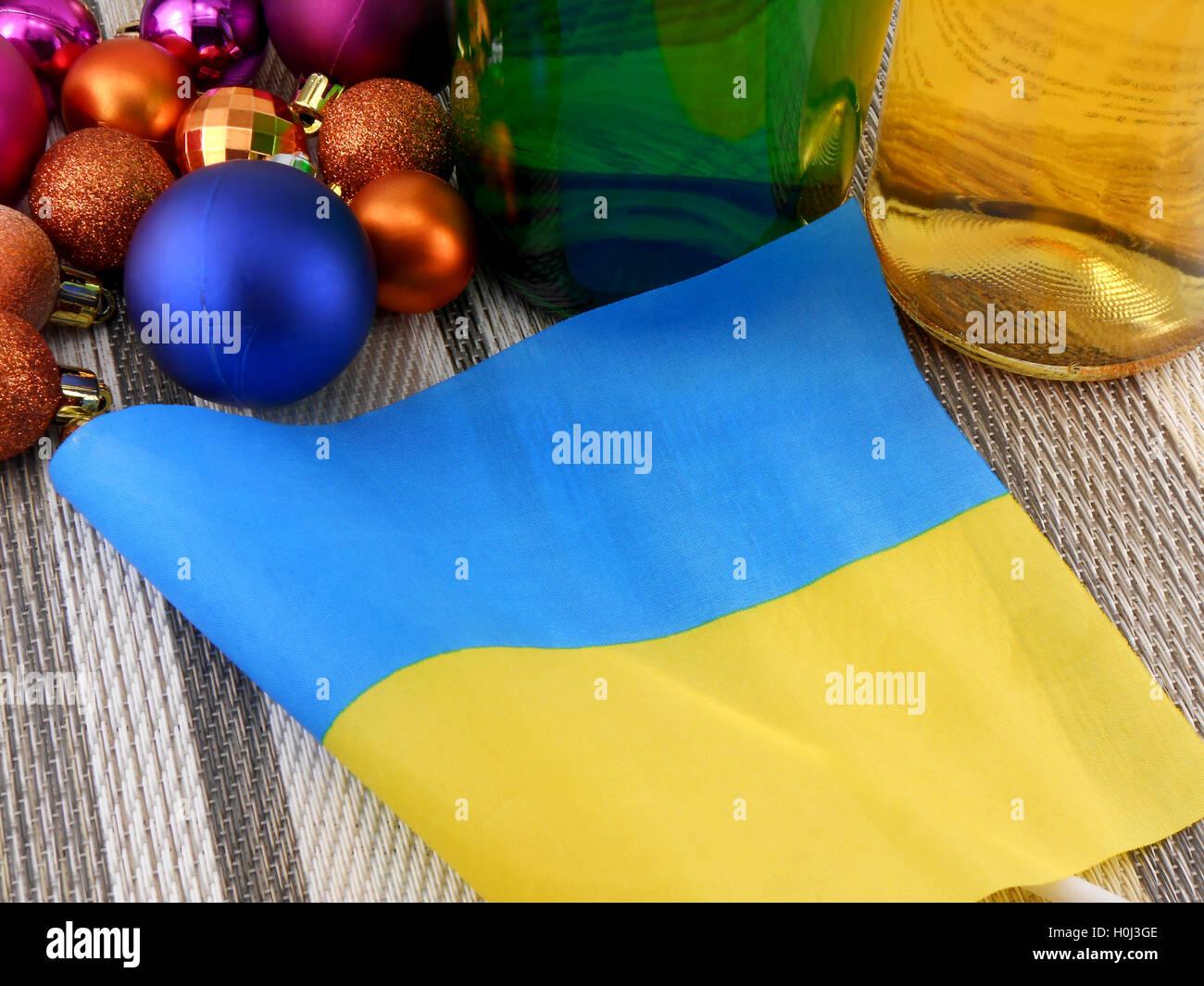 ukraine flag with christmas decoration new year card stock image