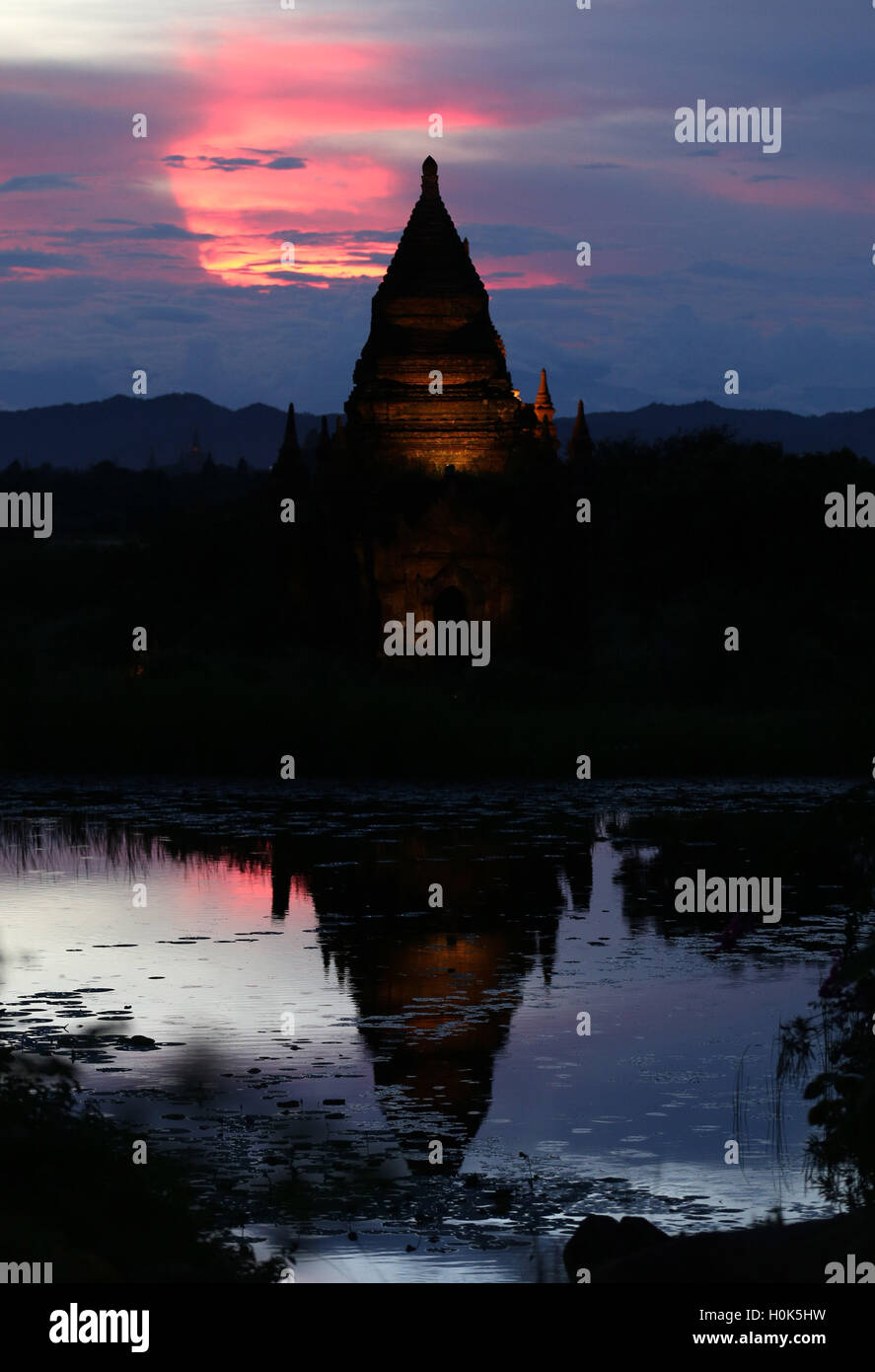 (160922) -- BAGAN (MYANMAR), Sept. 22, 2016 (Xinhua) -- A pagoda is seen in the ancient city of Bagan, Myanmar, - Stock Image
