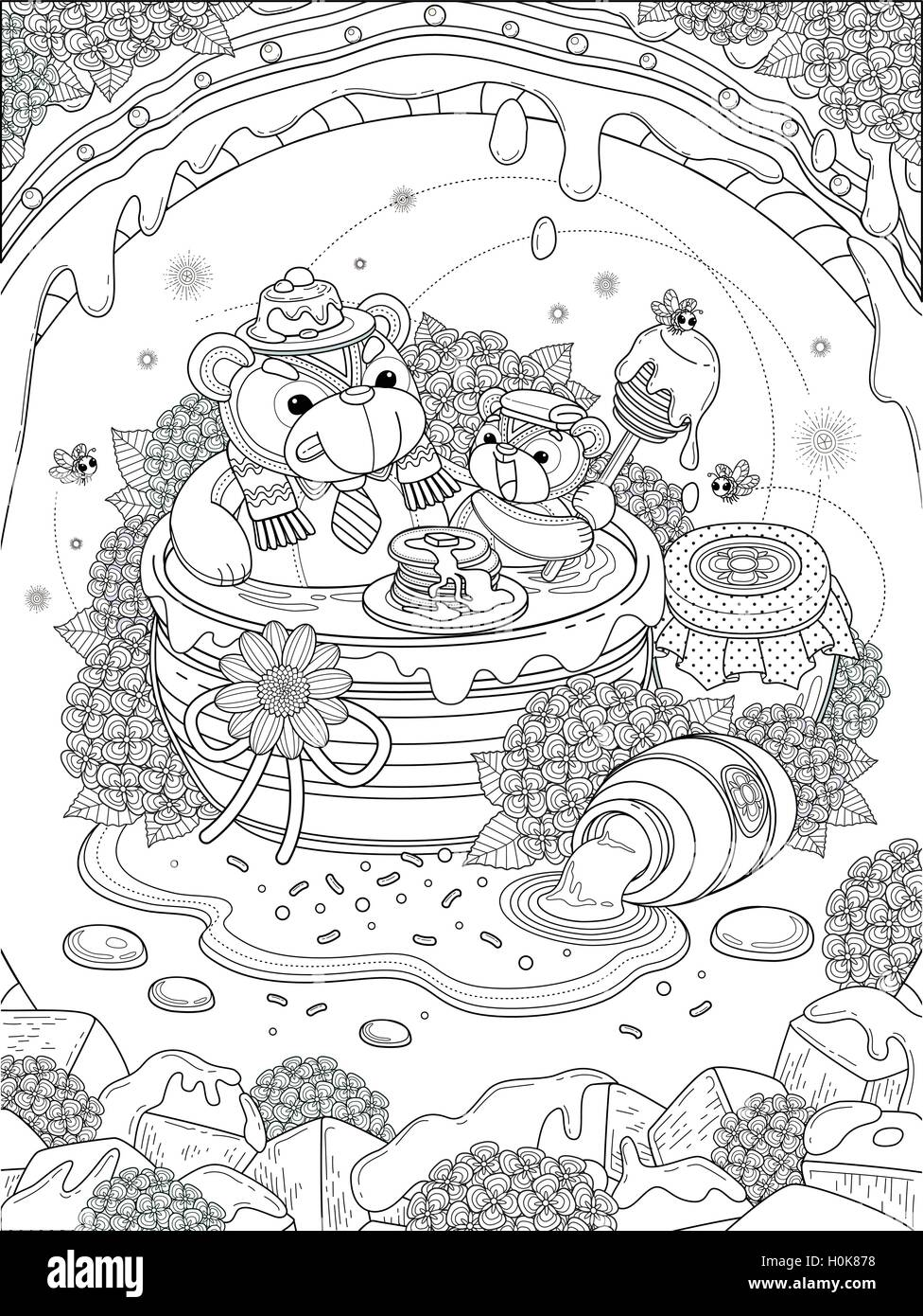 Lovely Adult Coloring Page Foodie Bear Family Enjoy Their Honey Meal Anti Stress Pattern For