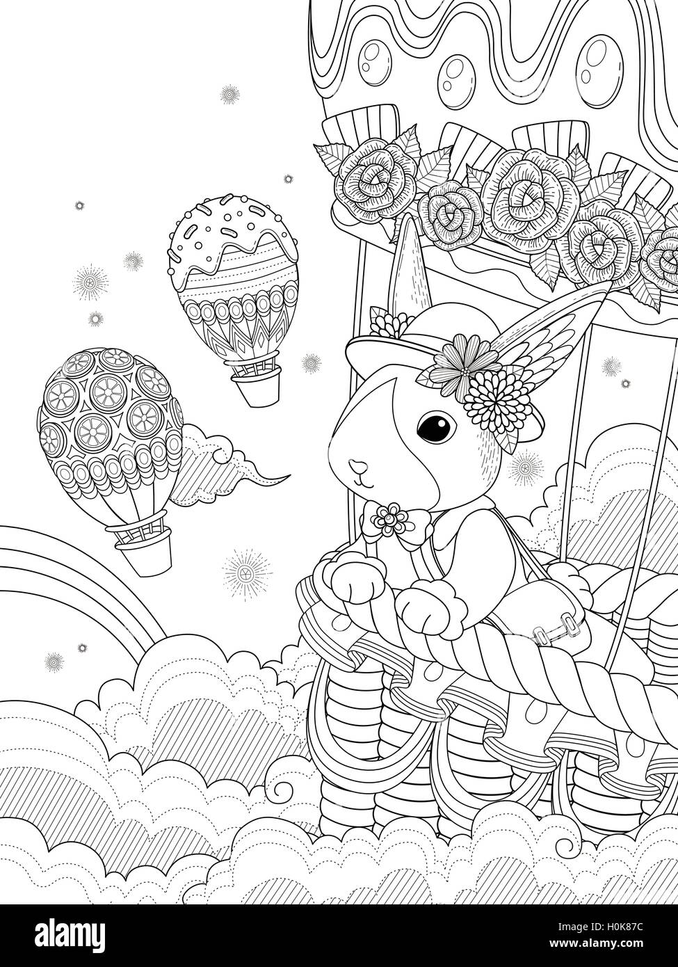 Lovely Lovely adult coloring page, miss rabbit takes hot air balloon ride  OJ34