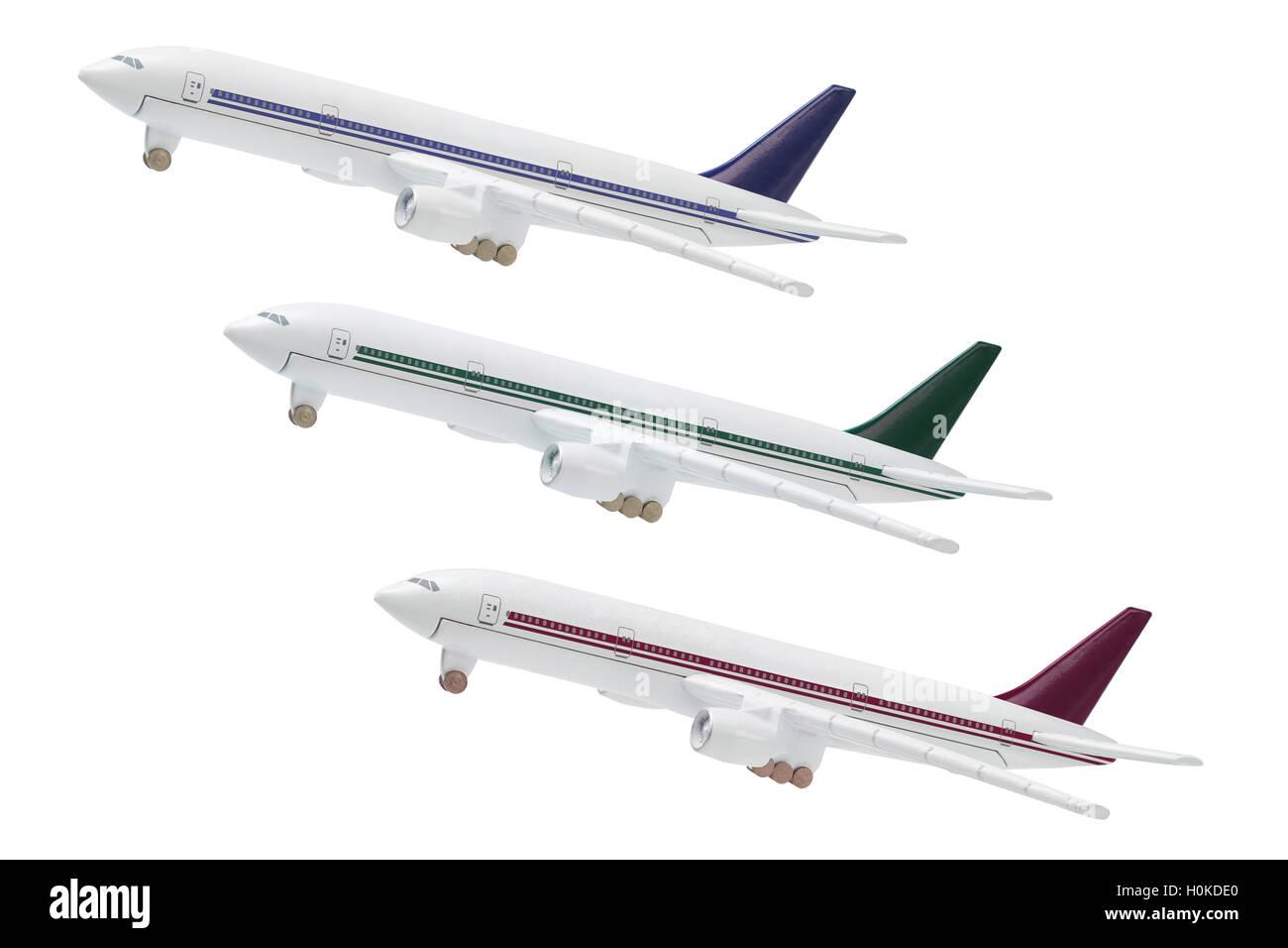 Miniatue Model Of Commercial Jetliners on white Backgroud - Stock Image