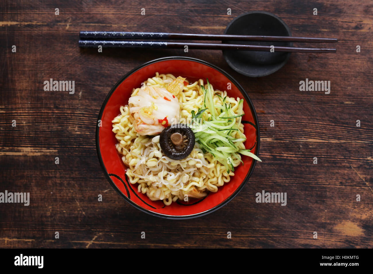 Asian food spicy ramen noodles with vegetables - Stock Image