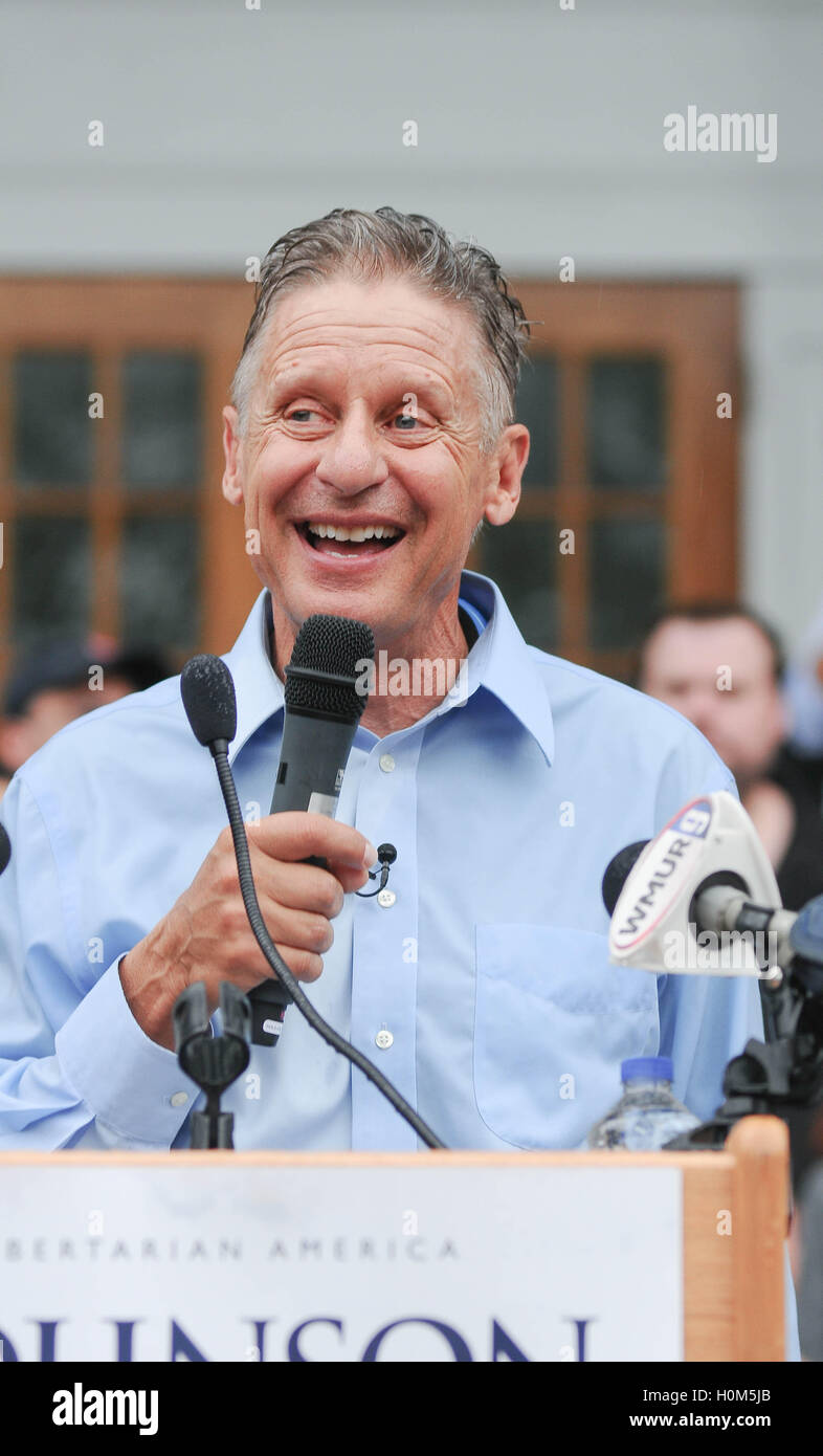 Libertarian candidate for president Gary Johnson speaks at a rally in Concord, New Hampshire, USA, on 25 August, - Stock Image