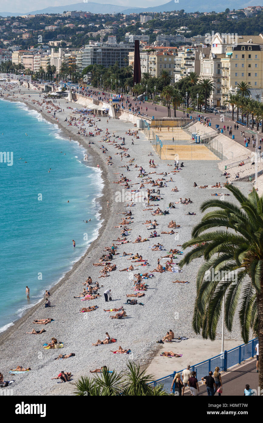 Overall view of the beach and seafront, Nice, Alpes-Maritimes,  French Riviera, France - Stock Image