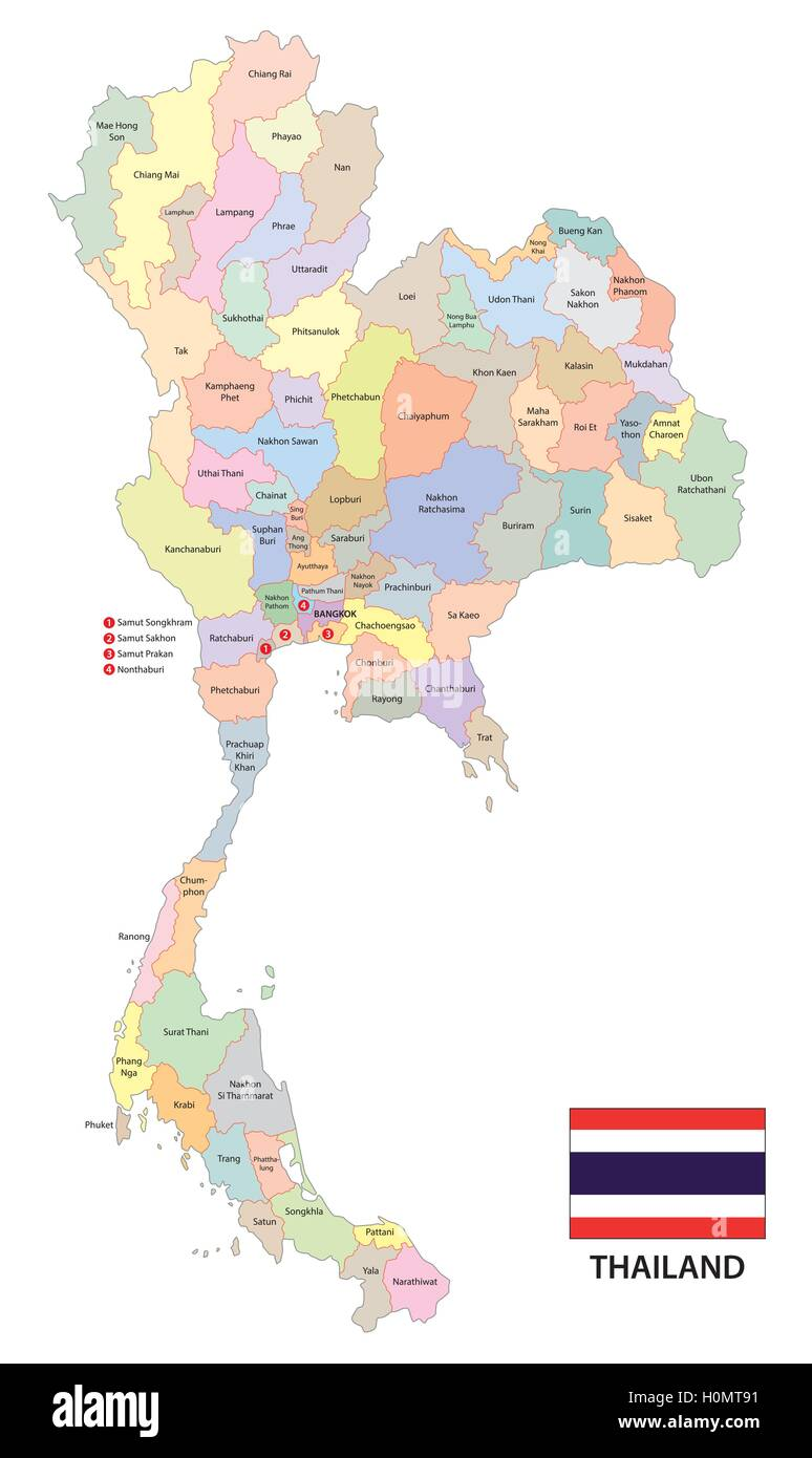 administrative vector map of the kingdom of thailand with ...