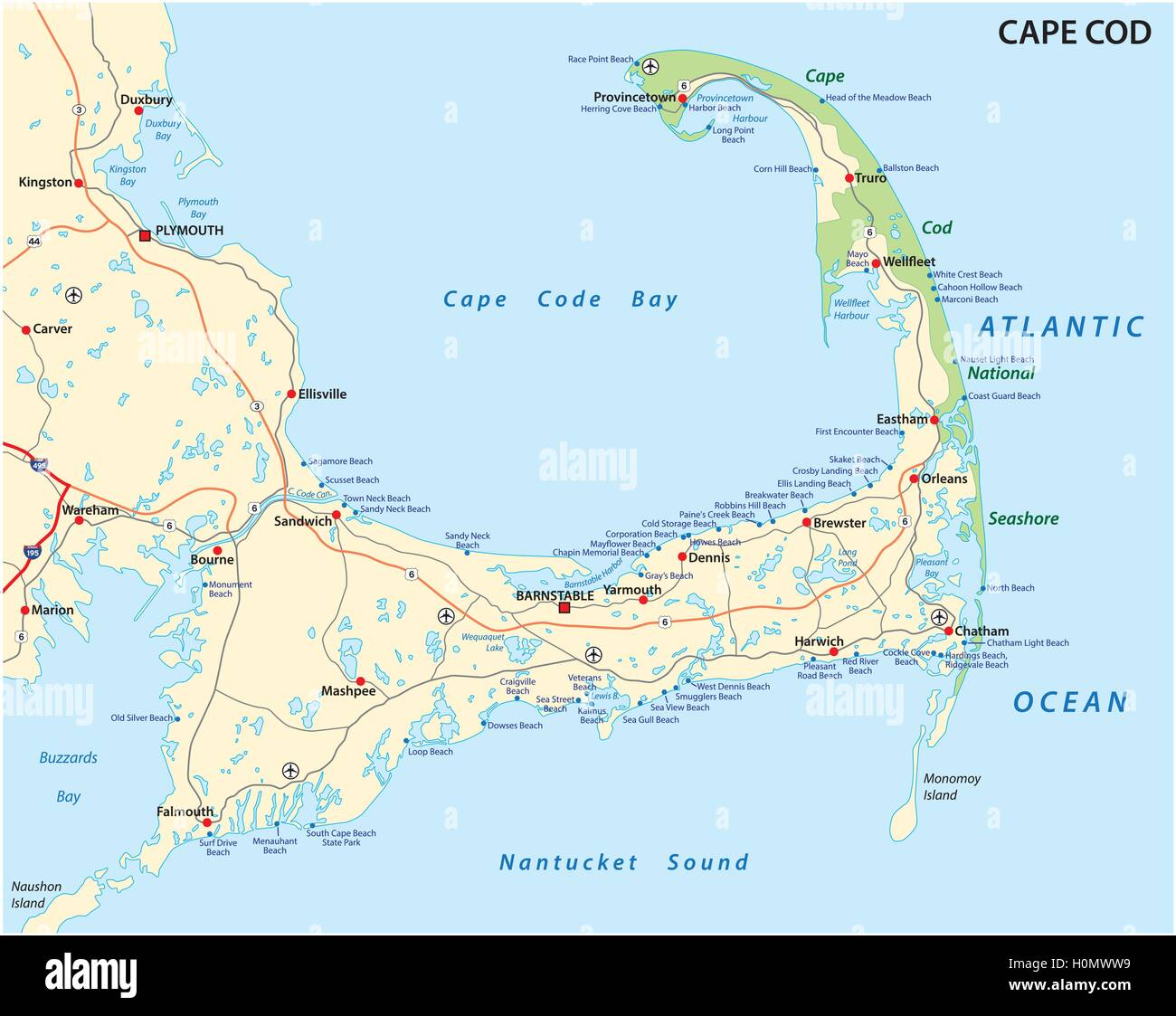 cape cod road and beach map Stock Vector Art & Illustration, Vector ...