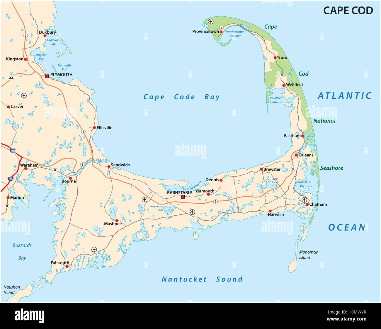 Cape Cod Airfield: Cape Cod Road Map Stock Vector Art & Illustration, Vector