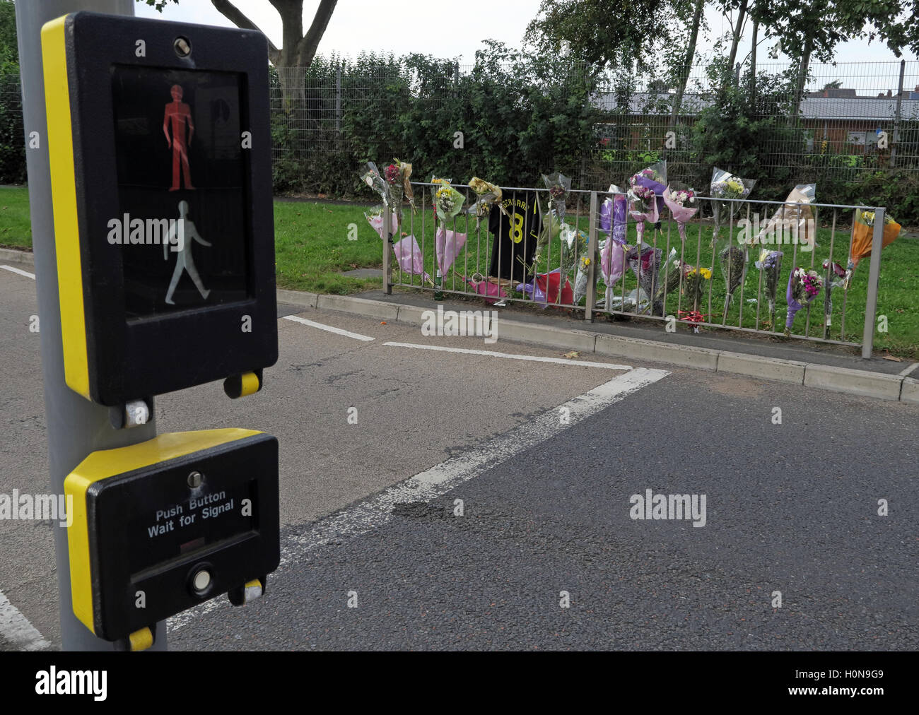 Accident at a Pelican Road Crossing, Howley, Warrington, Cheshire, England UK Stock Photo