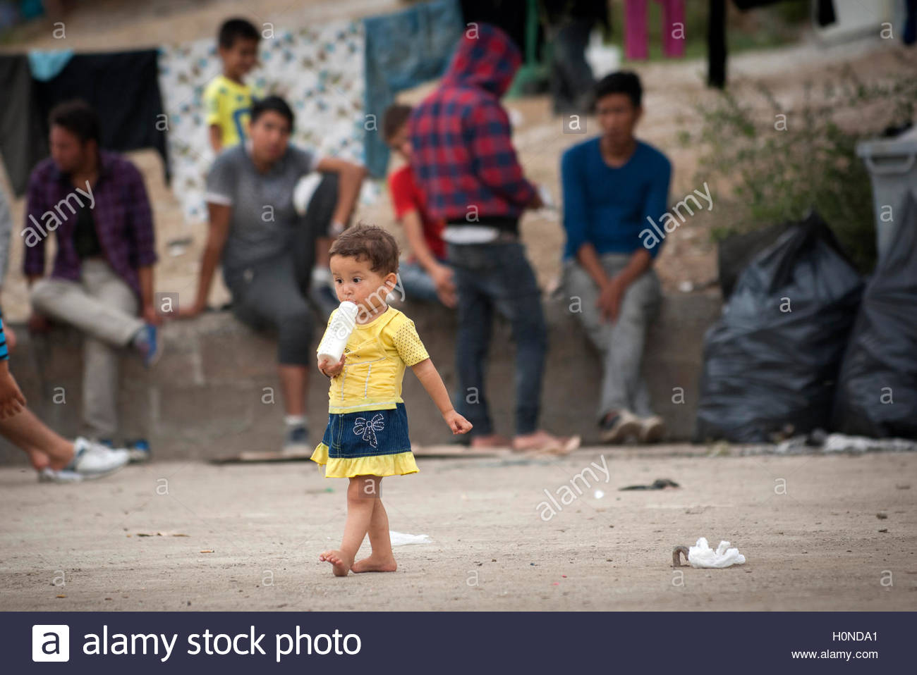 A child at Moria Refugee Camp in Lesbos, Greece. - Stock Image