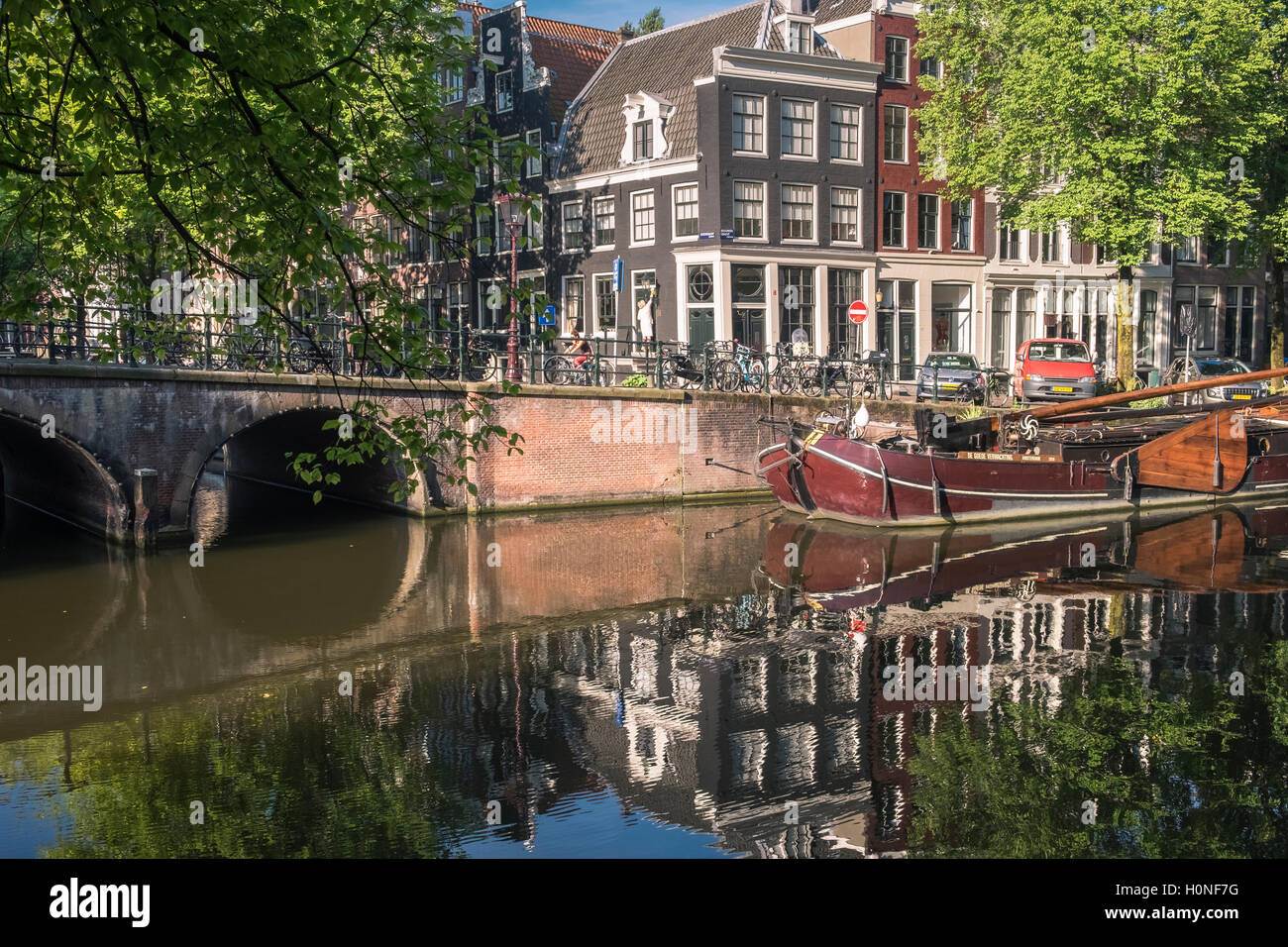 Traditional architecture seen on Prinsengracht canal, Jordaan district, Amsterdam, Netherlands - Stock Image
