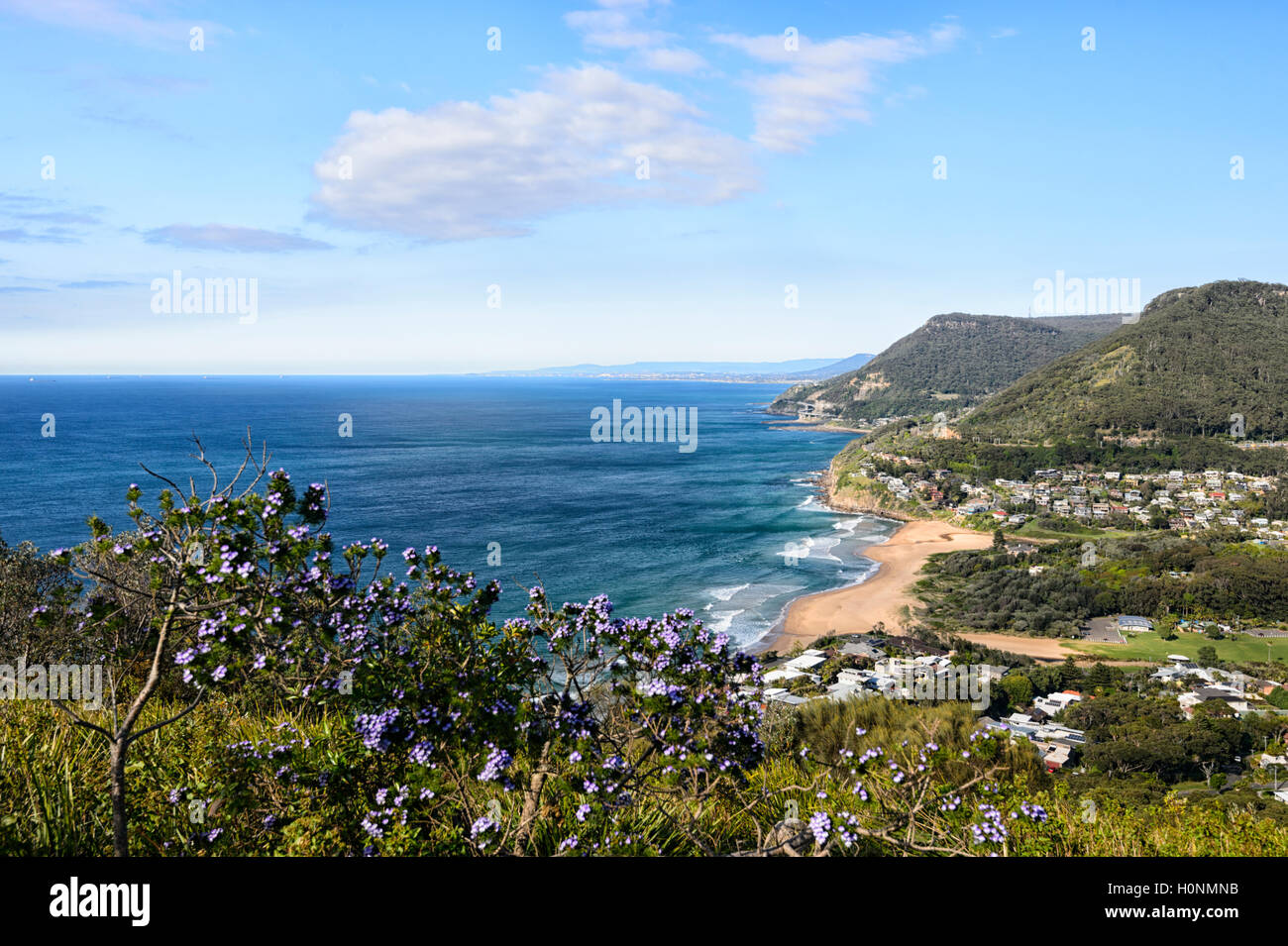 Scenic view of Stanwell Park from Bald Hill Lookout, South Coast, New South Wales, NSW, Australia - Stock Image