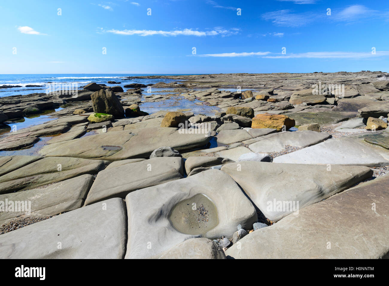Details of eroded rock formations, Coalcliff, New South Wales, NSW, Australia - Stock Image