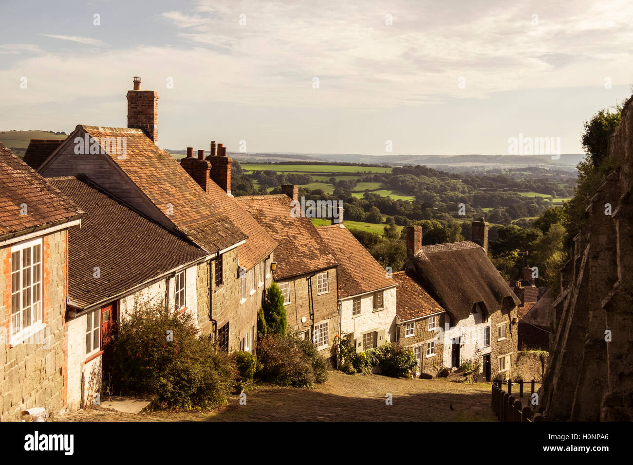 Gold Hill Shaftsbury site of Hovis Ad - Stock Image
