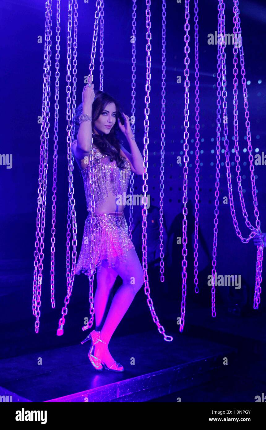 Bollywood actor Angela Krislinzki during the on location shoot of upcoming film Ramratan in Mumbai, India - Stock Image