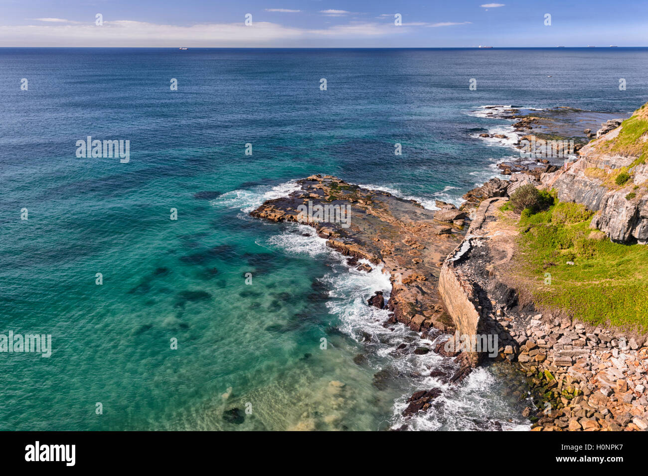 View of the coastline along the Grand Pacific Drive, Coalcliff, Illawarra Region, New South Wales, NSW, Australia - Stock Image