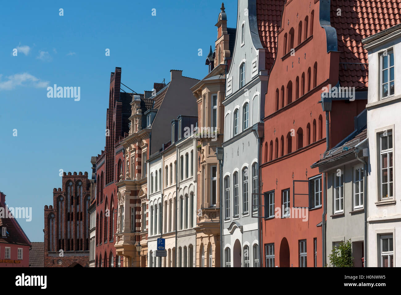 Facades from different eras, Wismar, Mecklenburg-Western Pomerania, Germany - Stock Image
