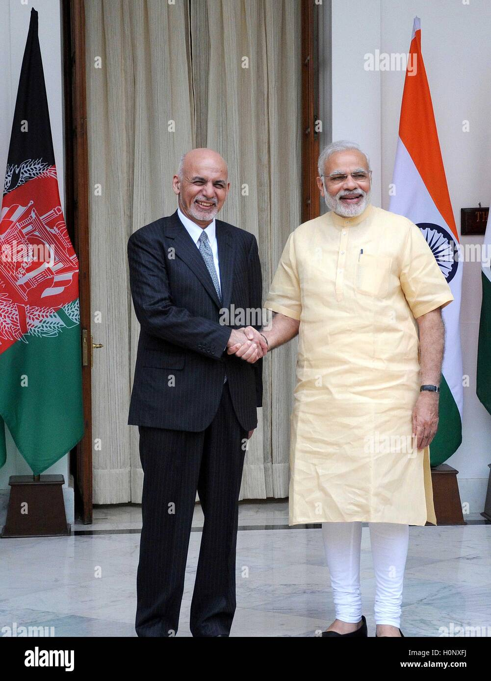Prime Minister Narendra Modi Greets Afghanistan President Mohammad Ashraf Ghani At Hyderabad House In New Delhi India Stock Photo Alamy