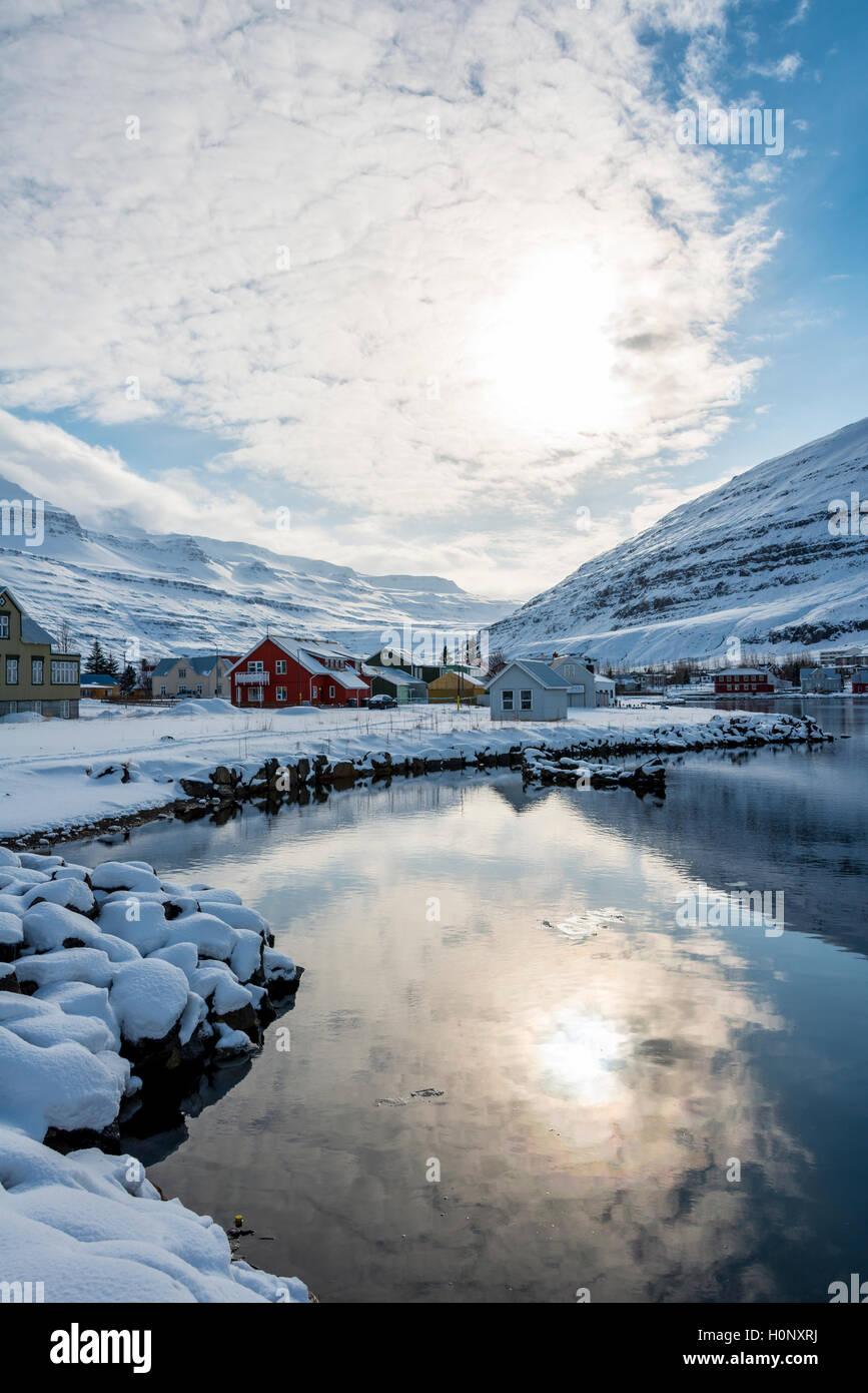 Village of Seyðisfjörður, Eastern Region, Iceland - Stock Image