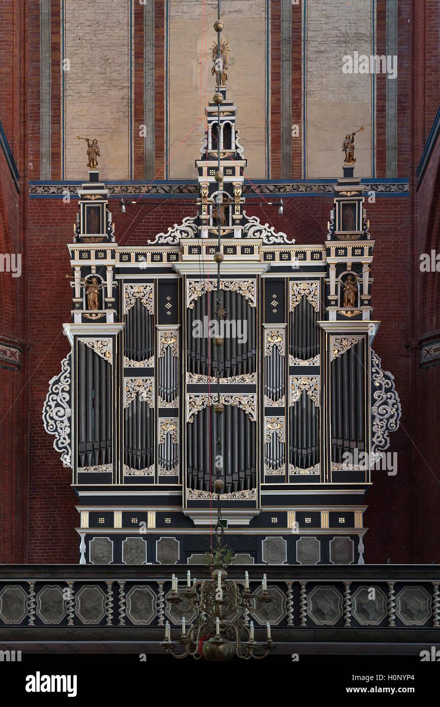Organ, St. Nikolai Church, Wismar, Mecklenburg-Western Pomerania, Germany - Stock Image