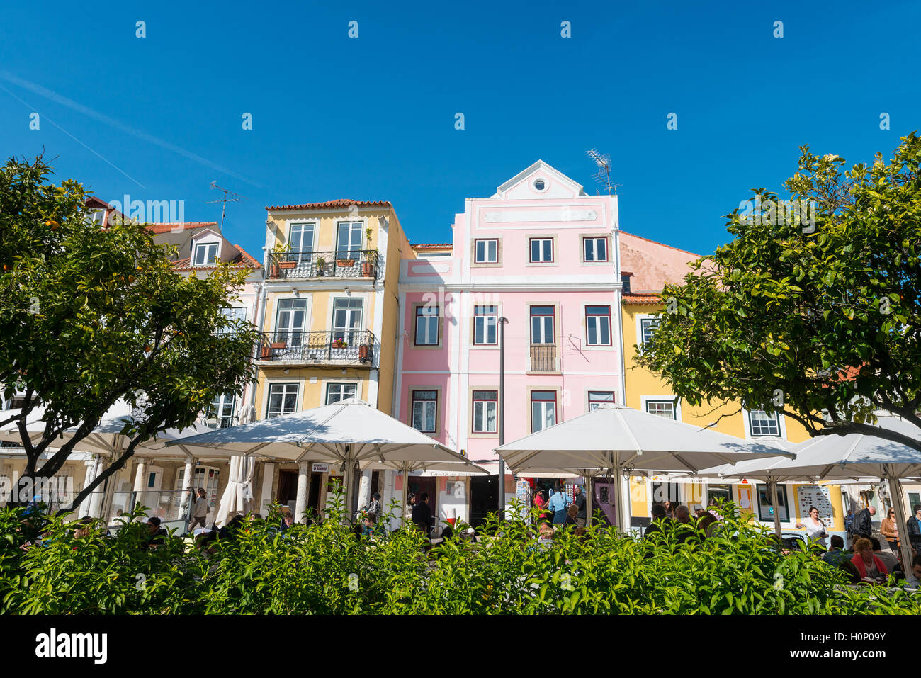 Colourful houses, Belém, Lisbon, Portugal - Stock Image