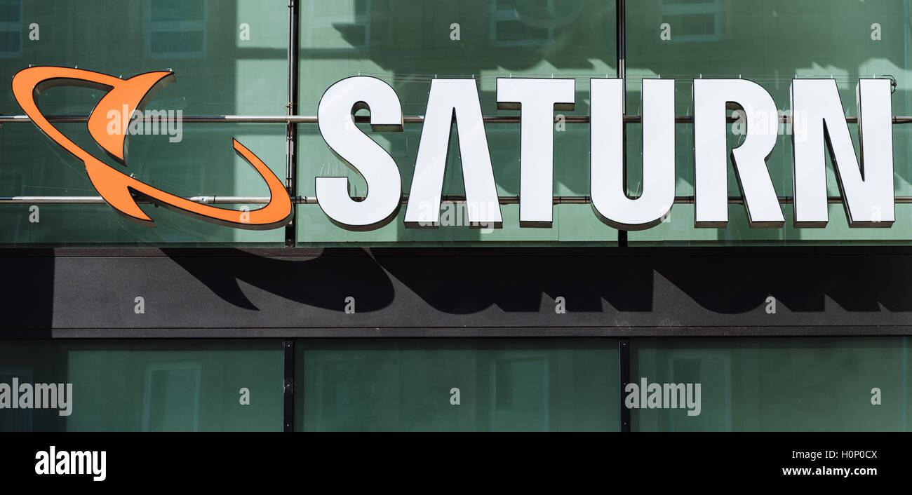 Logo, Saturn, electronics store, Stuttgart, Baden-Württemberg, Germany Stock Photo