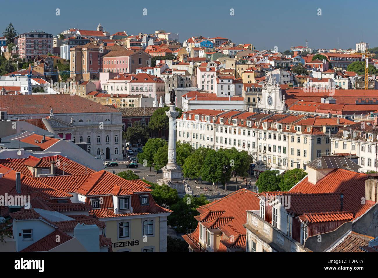 Aerial view to Rossio square Baixa Lisbon Portugal Stock Photo