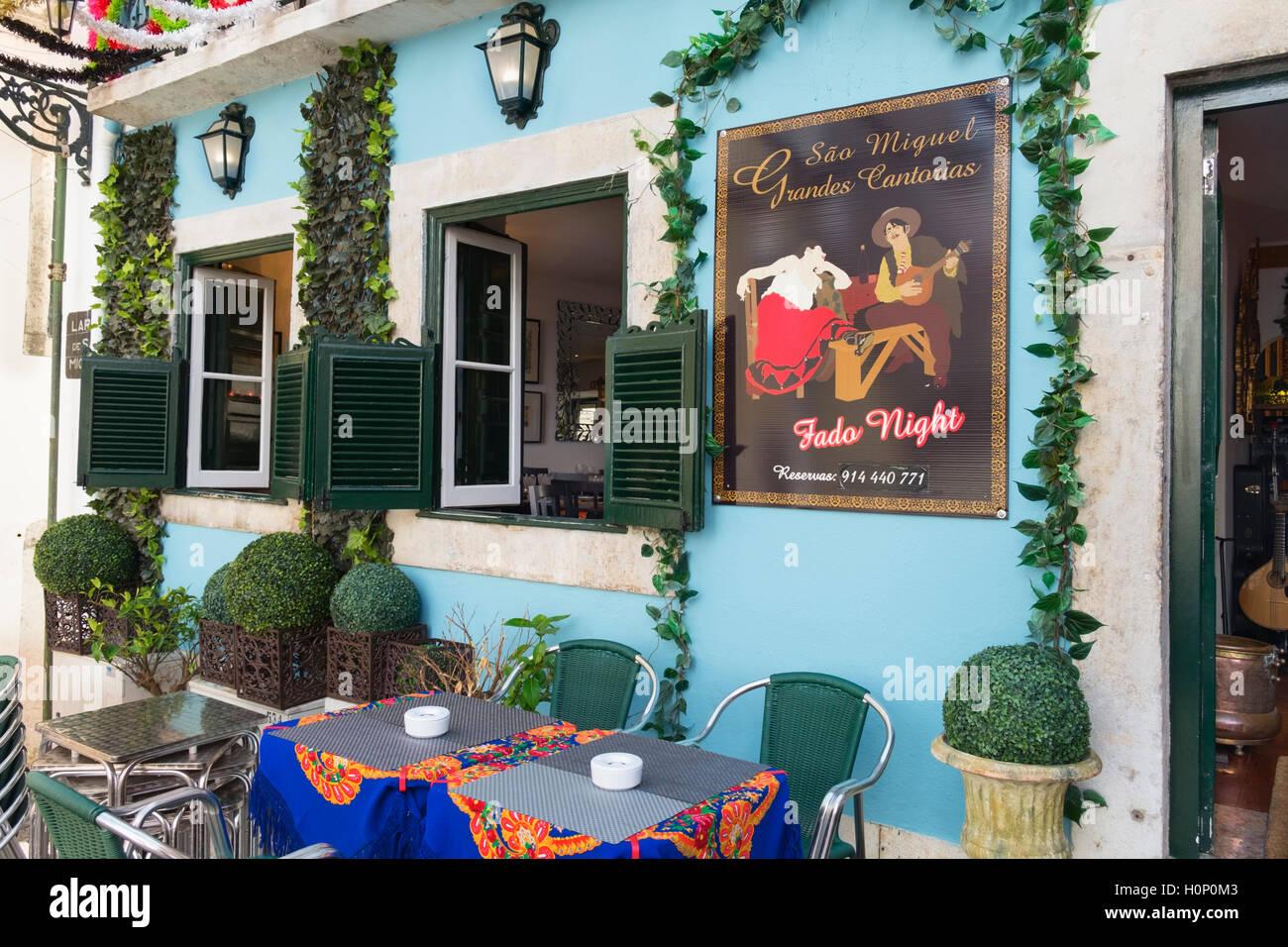 Fado restaurant Alfama Lisbon Portugal - Stock Image