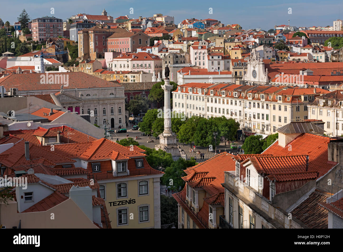 Aerial view to Rossio square Baixa Lisbon Portugal Stock Photo