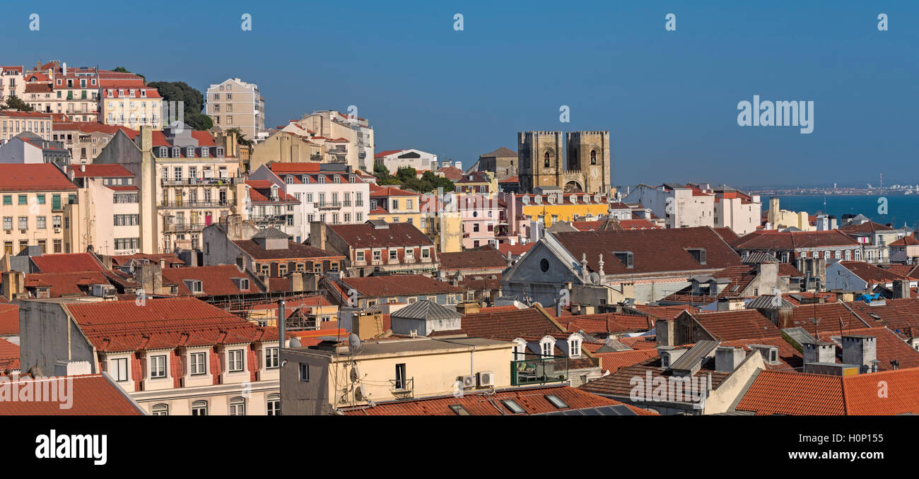 City view to Sé cathedral Lisbon Portugal Stock Photo