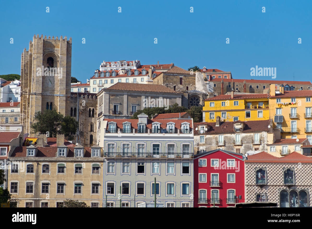 View to Alfama and Sé cathedral Lisbon Portugal Stock Photo