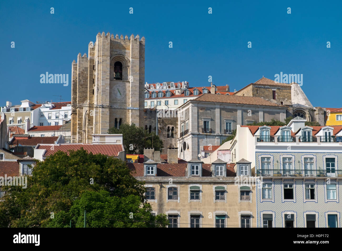 View to Alfama and Sé cathedral Lisbon Portugal - Stock Image