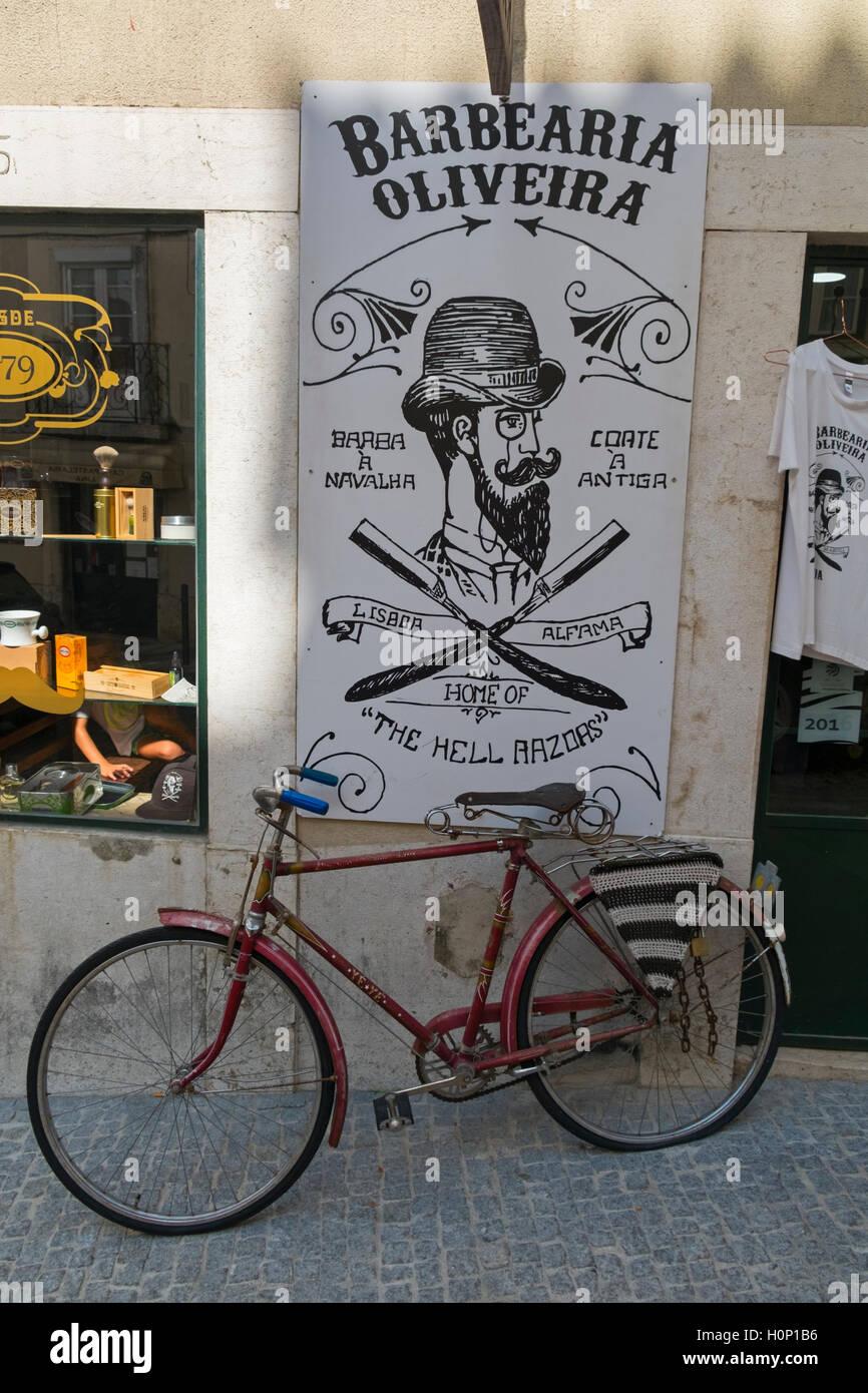 Barber's shop sign Alfama Lisbon Portugal Stock Photo