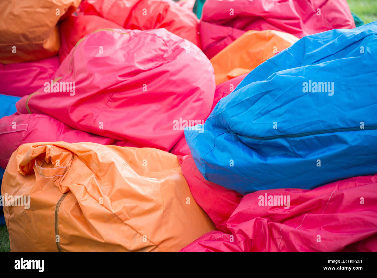 shapeless colored Bean bag chair for sitting - Stock Image