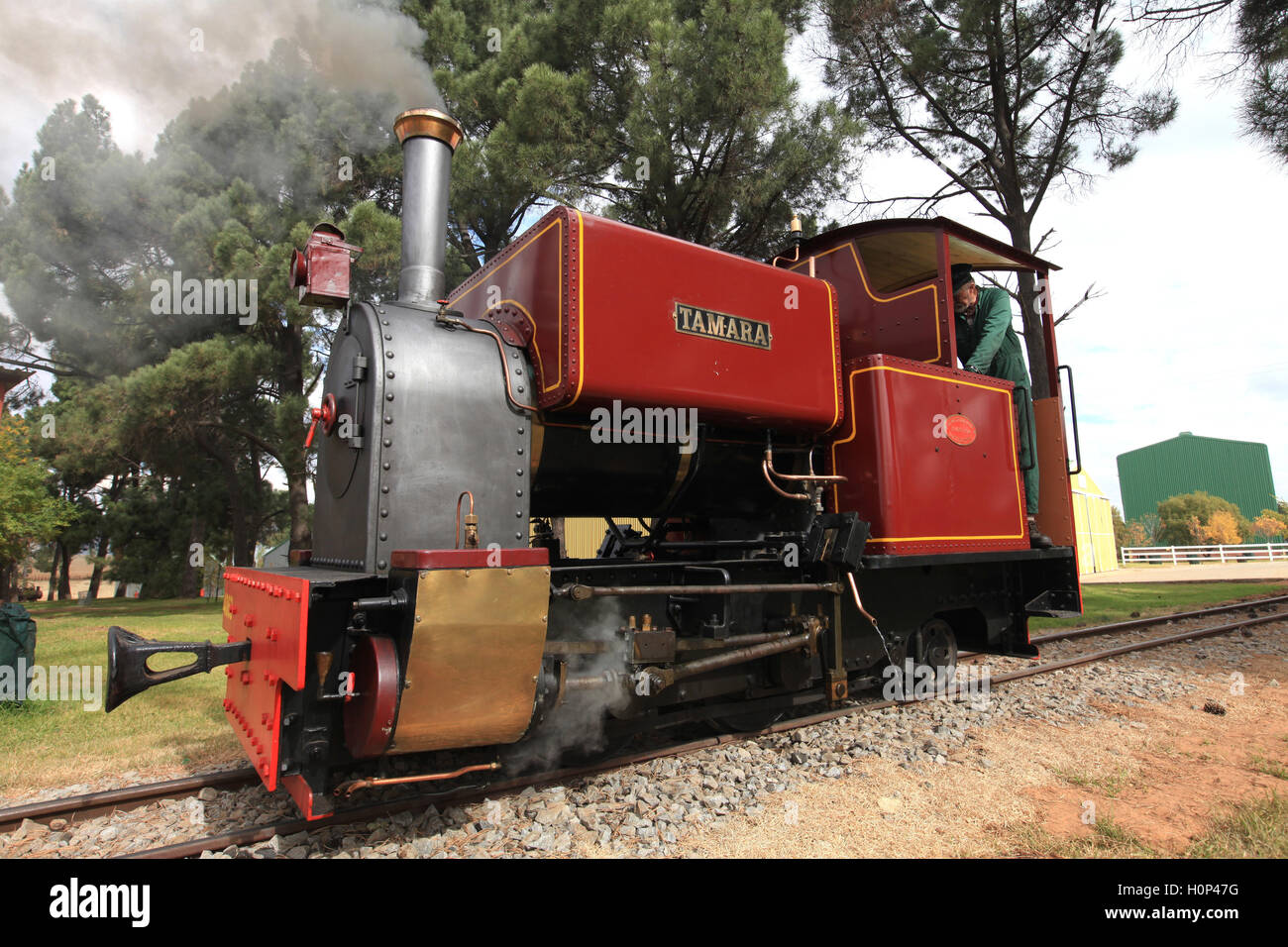 A steam locomotive which is part of a collection on Sandstone estate - Stock Image