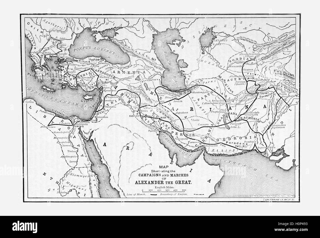Map from antiquity showing the marches and campaigns of Alexander the Great.  Alexander III commonly known as Alexander - Stock Image