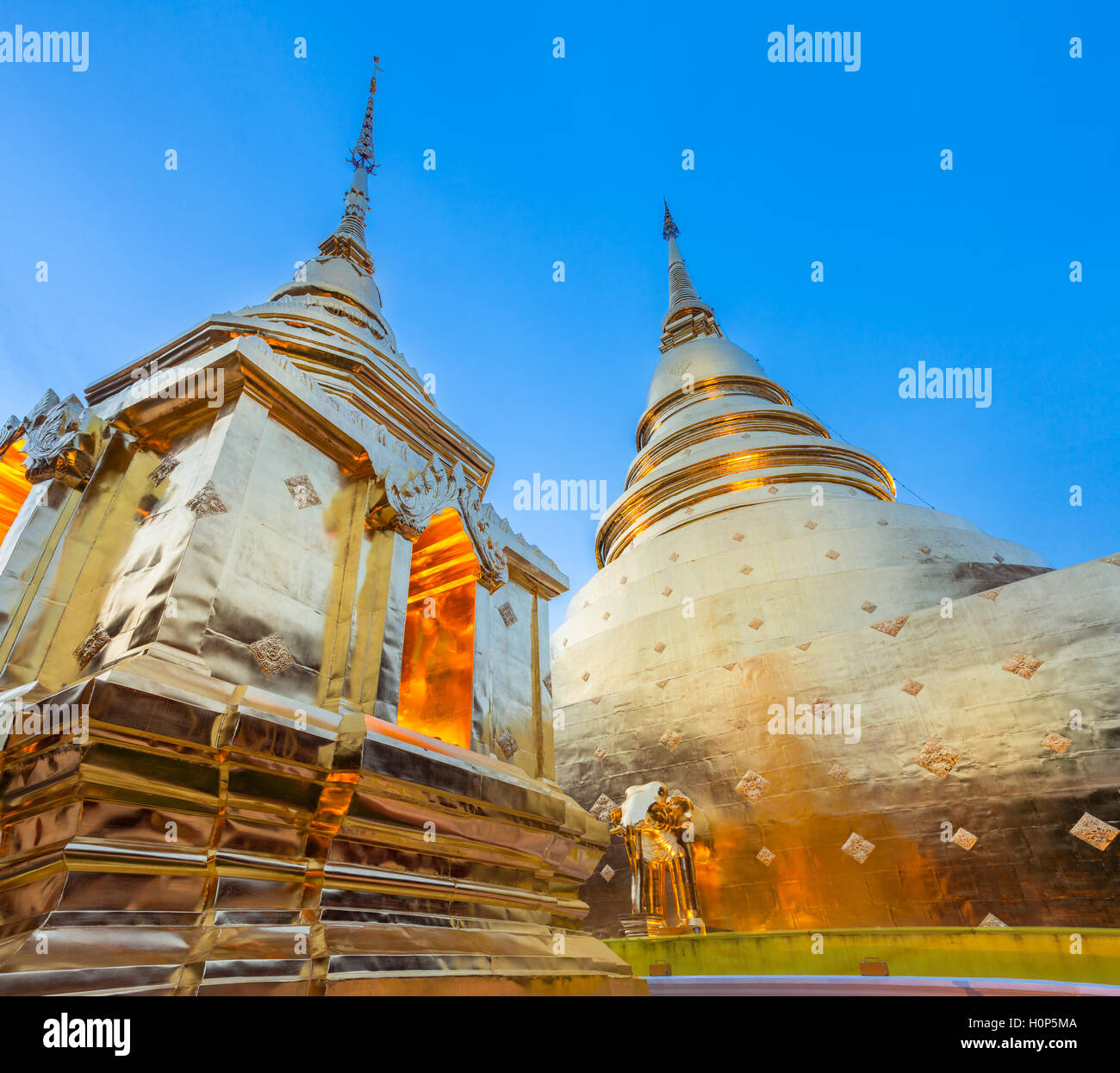 Dusk View of the golden chedi (stupa) of Wat Phra Singh temple, the most revered temple in Chiang Mai, Thailand. - Stock Image