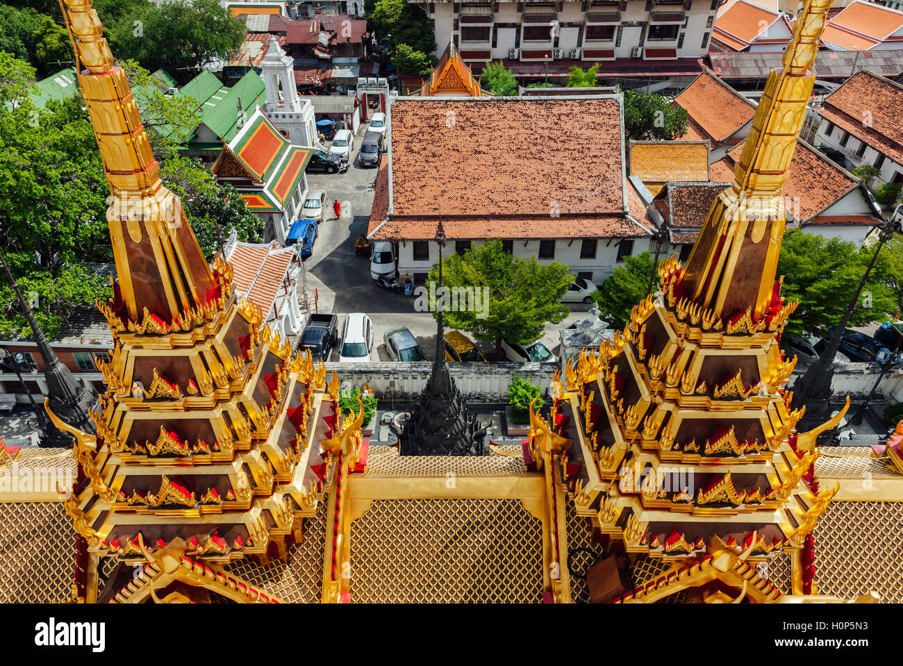 High angle view of the Wat Ratchanatdaram, Bangkok, Thailand - Stock Image
