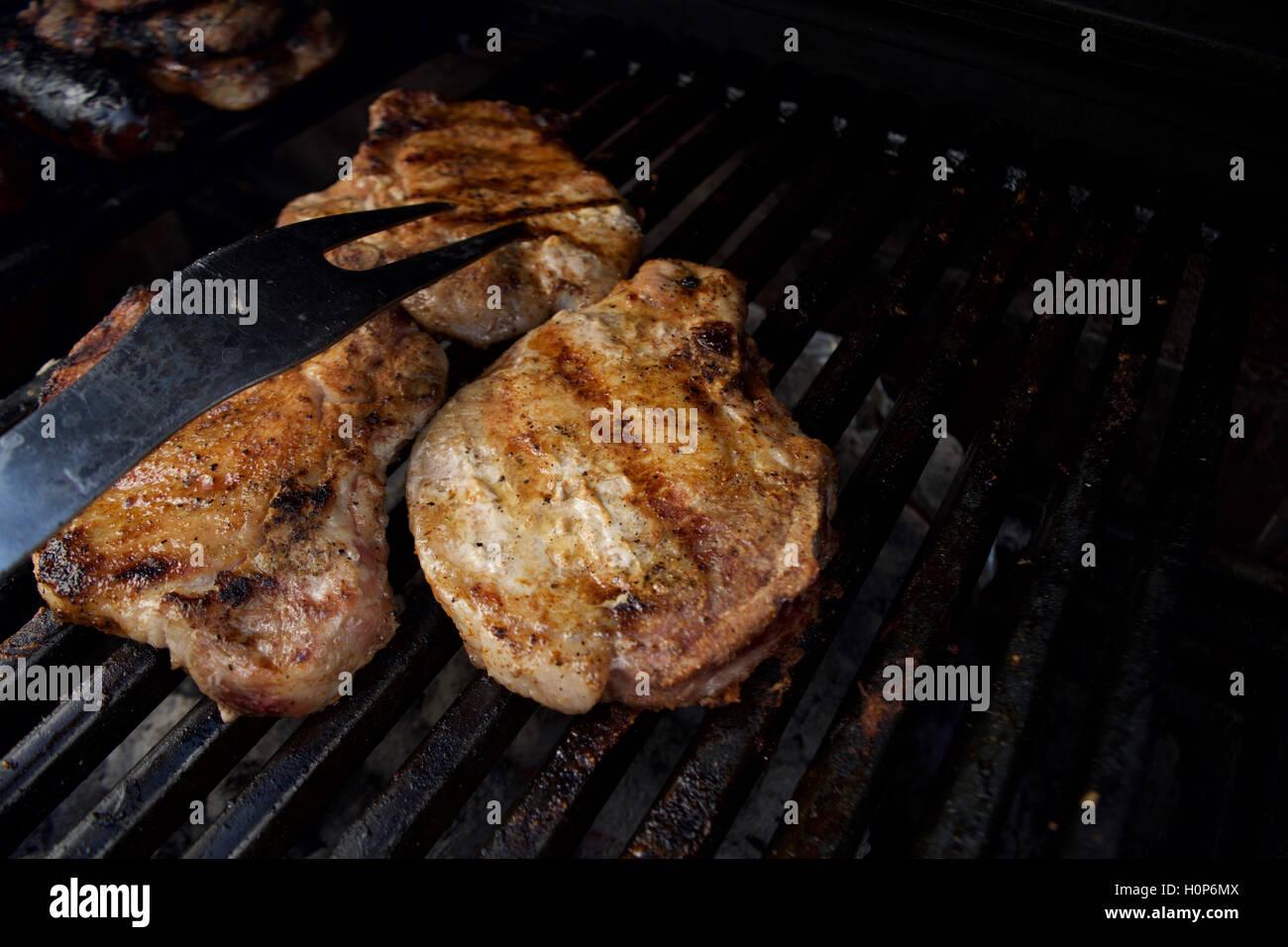 Pork Chops, BBQ Stock Photo