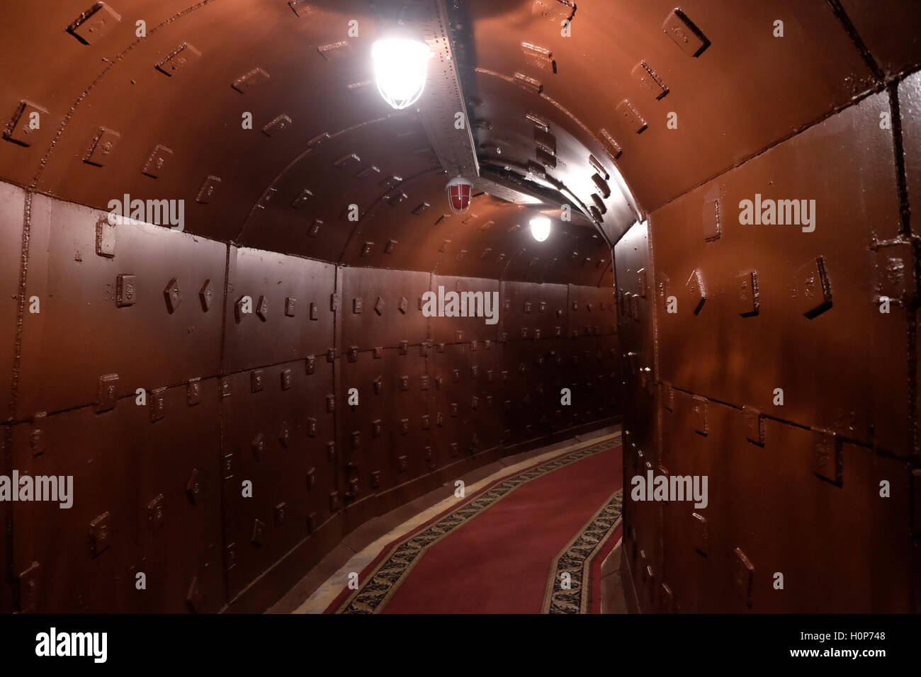 Underground tunnel at the Tagansky Protected Command Point, also known as bunker-42 a once-secret military complex, - Stock Image