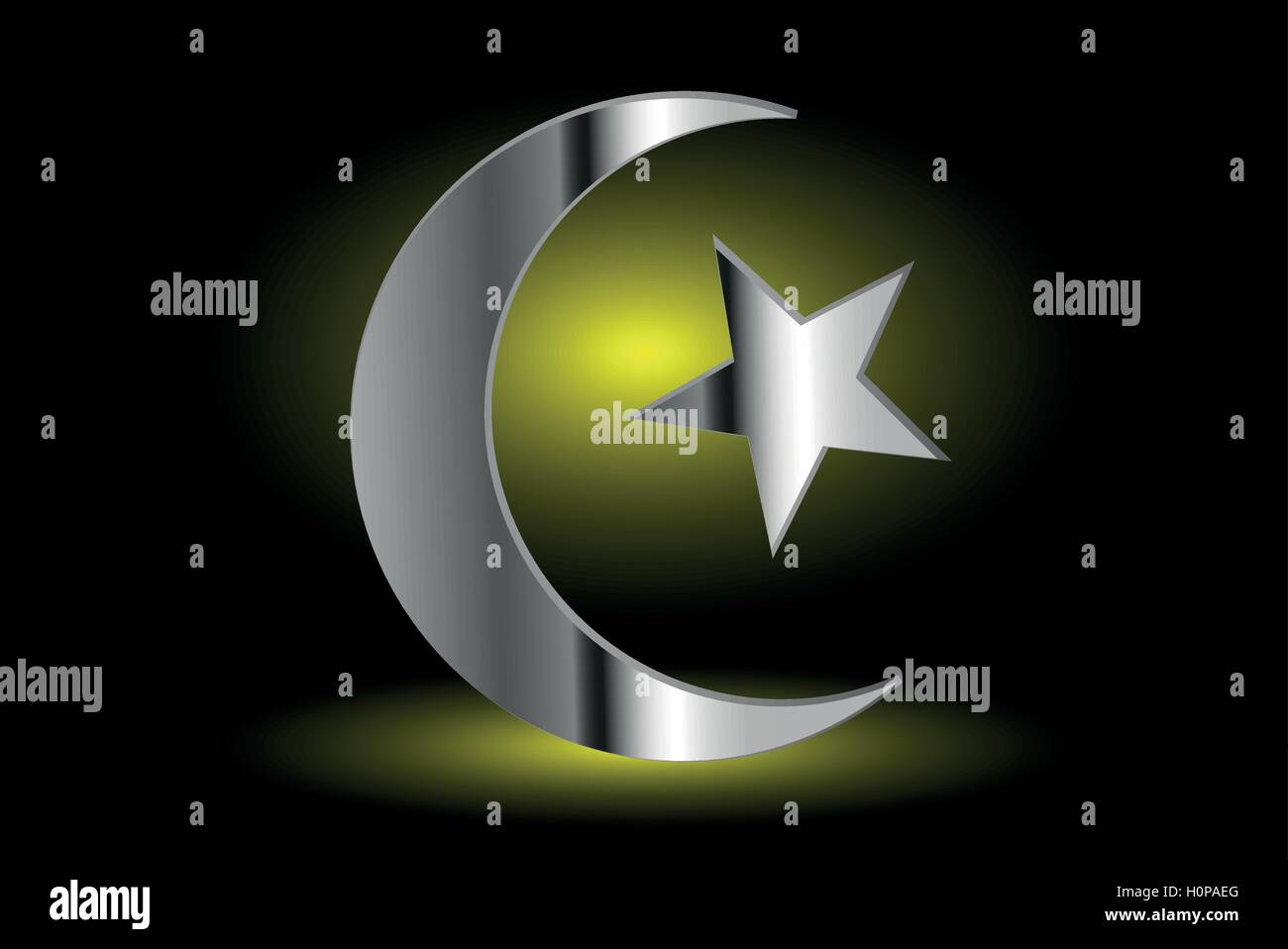 Muslim Symbol Islam Symbol Crescent And Star Icon Of Islam On A