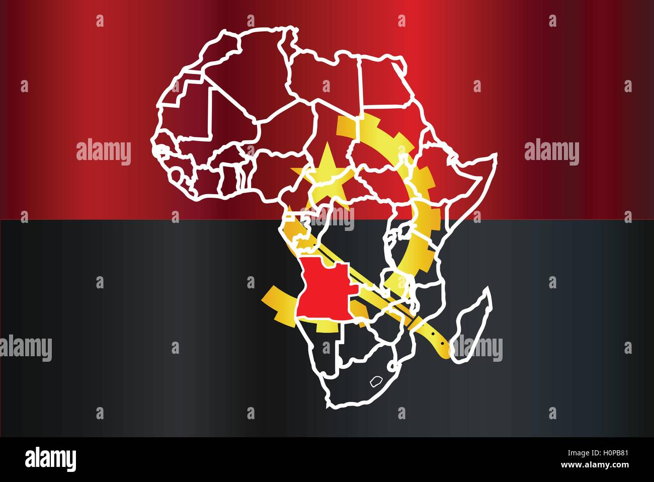 Angola outline inset into a map of Africa over a white background - Stock Vector