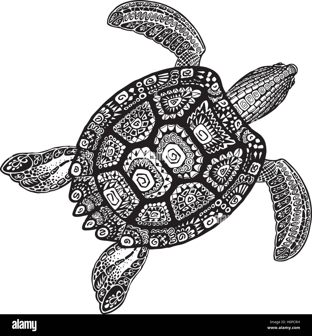 Turtle Ethnic Tribal Style Decorative Ornament Vector Illustration