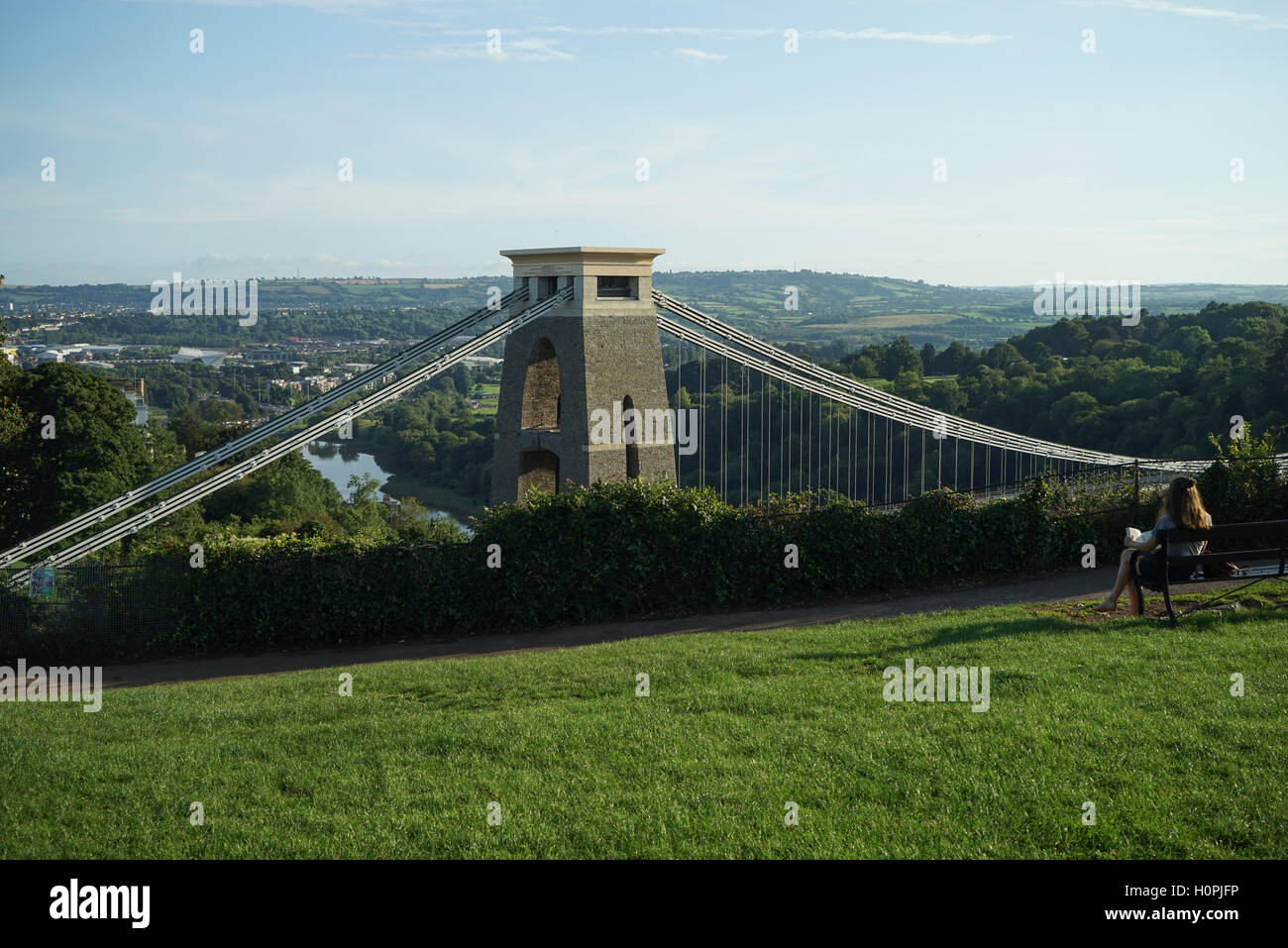 Enjoying the Evening Sun from Clifton Down, Bristol Stock Photo