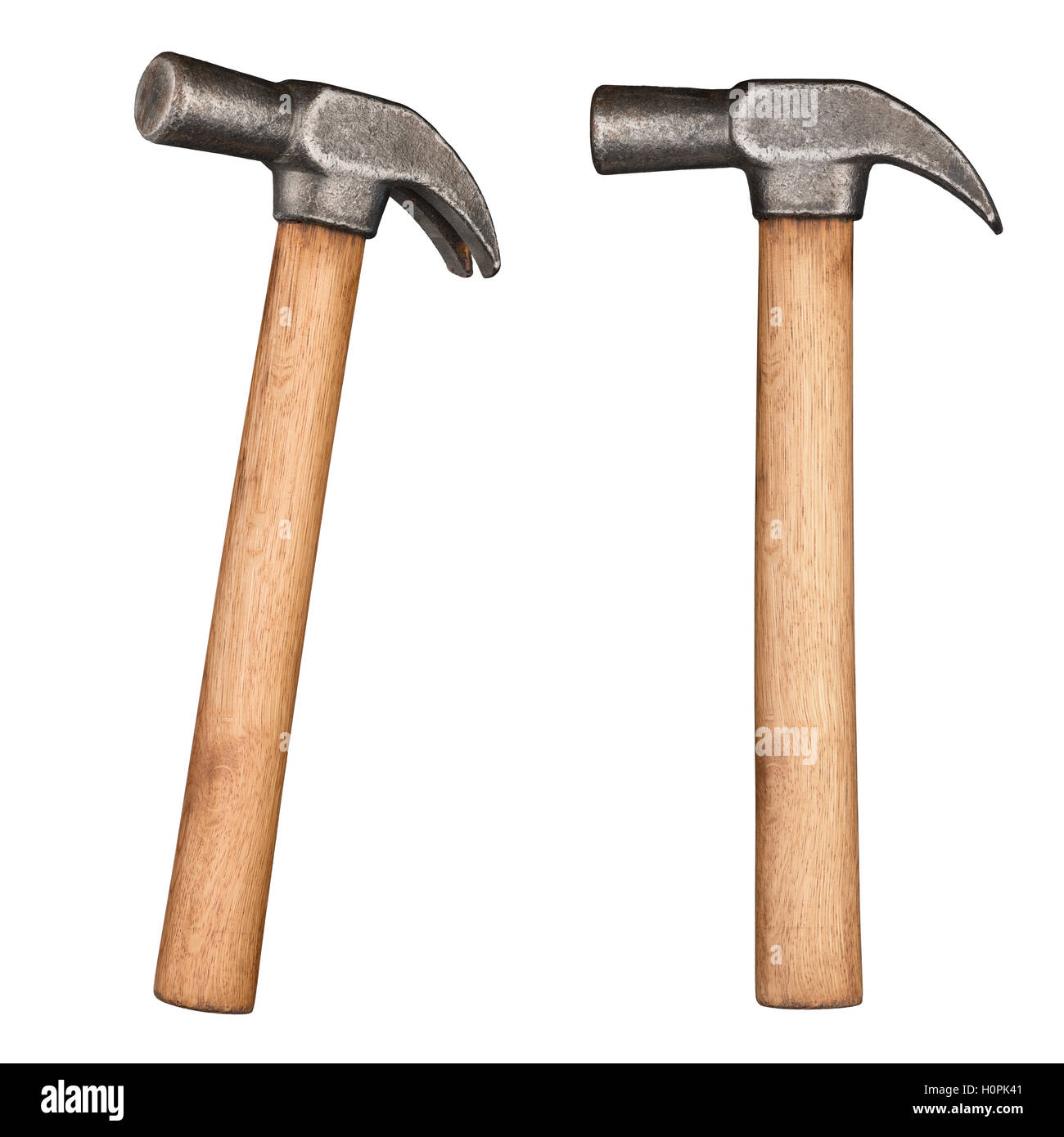 Old rustic claw hammer with wooden handle. - Stock Image