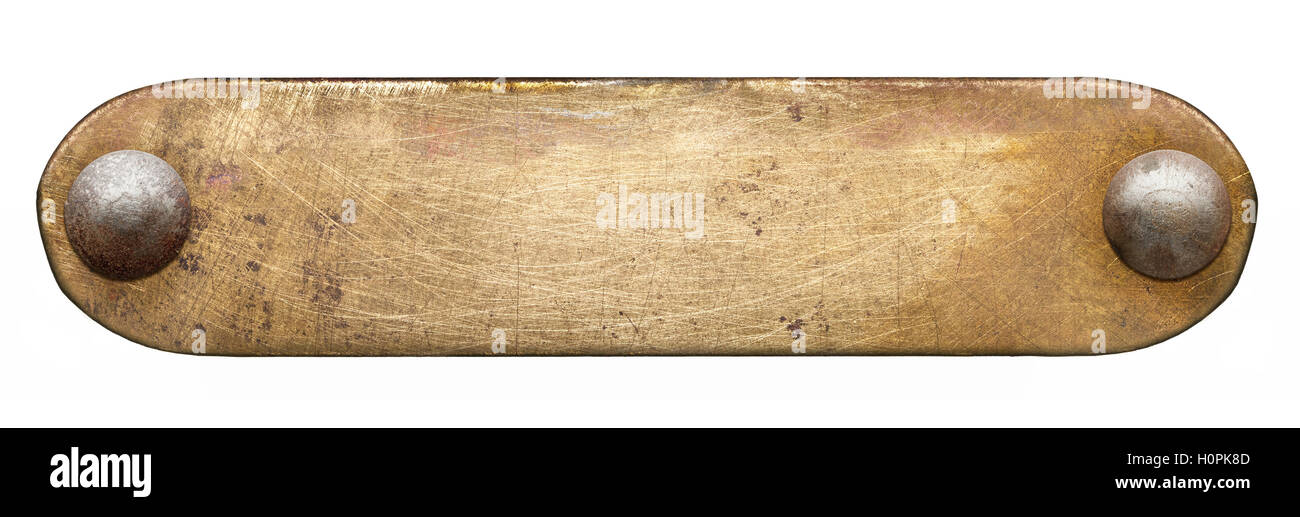 Brass plate texture. Old metal background with rivets. - Stock Image