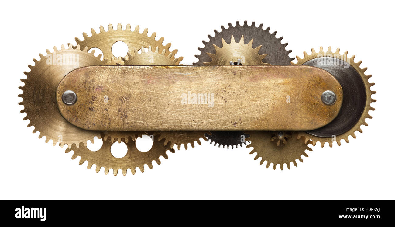 Stylized mechanical steampunk collage. Made of metal plate and clockwork details. - Stock Image