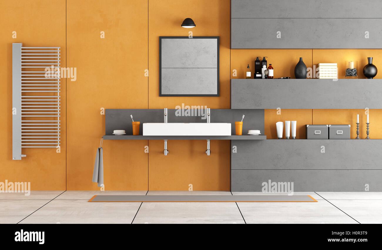 Orange And Gray Modern Bathroom With Washbasinniche Washbasin